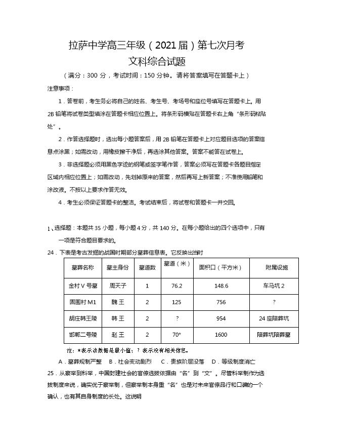 西藏拉萨中学2021届高三下学期第七次月考文综历史试卷 Word版含答案