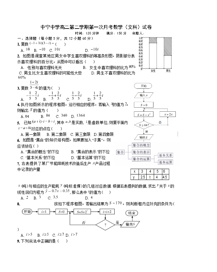 宁夏中宁县中宁中学2020-2021学年高二下学期第一次月考数学文科试题 Word版含答案