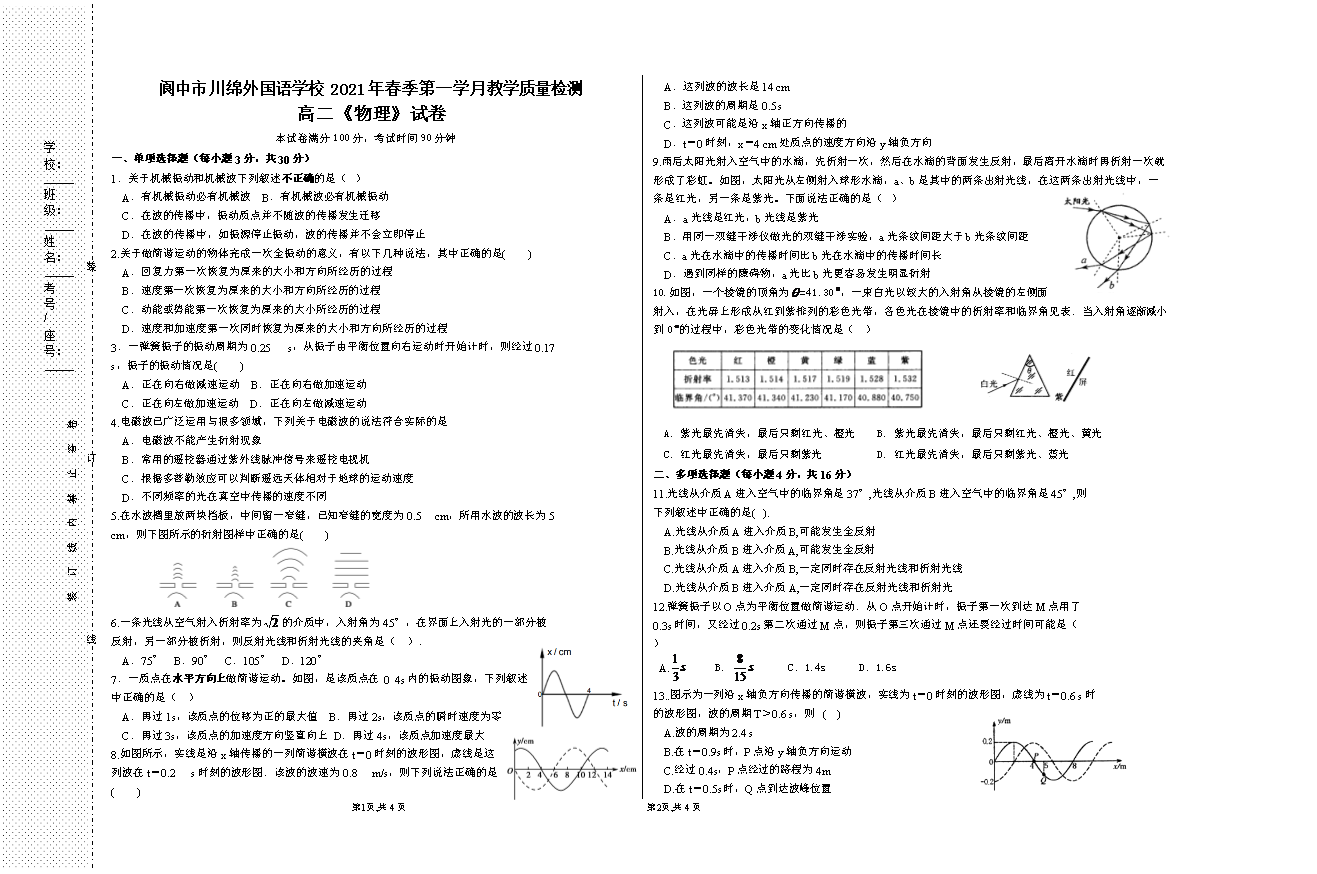 四川省成都市郫都区2020-2021学年高二下学期期中考试物理试题 图片版含答案