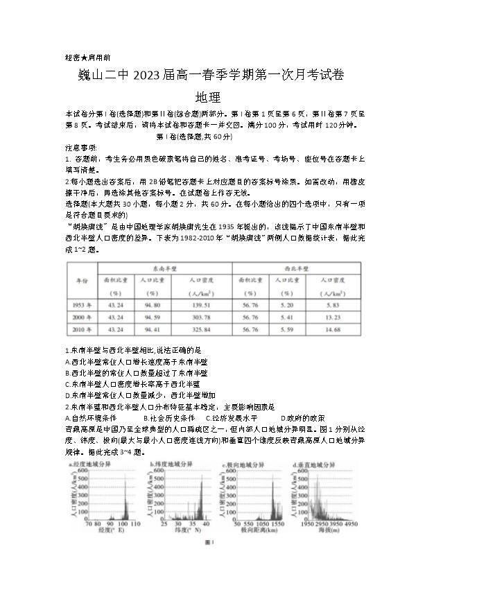 云南省会泽县茚旺高级中学2020-2021学年高一下学期期中考试地理试题 PDF版含答案