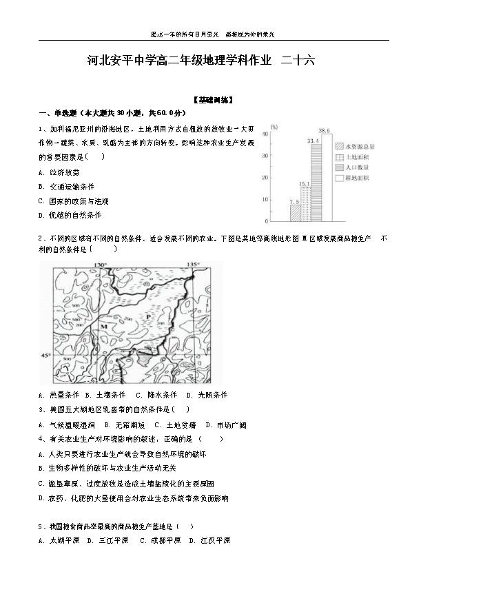 河北省唐山市2021届高三下学期普通高等学校招生全国统一模拟考试地理试题 Word版含答案